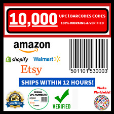 (10,000) ORIGINAL NEW UPC EAN Number Barcode Verified Code ID FOR Amazon Listing