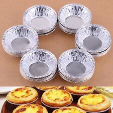 50Stk Silber Aluminium Egg Tart Form Muffinformen Backform Muffinförmchen Torte