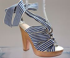 Coach Kimi Blue White Striped Grosgrain Strappy Sandals Shoes size 6B $198
