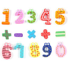 15pcs Colourful Wooden Magnetic Fridge Magnet Numbers Educational Kids Toys
