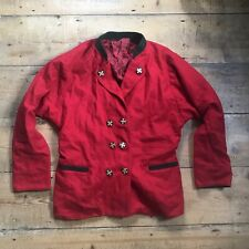 Vintage 80s red teddy girl jacket mod indie military riding 60s drape ted 10 12