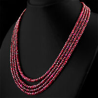 GENUINE 4 STRAND 407.55 CTS EARTH MINED RED RUBY ROUND CUT BEADS NECKLACE (DG)