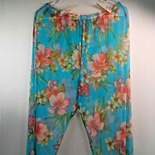 Liz Claiborne Womens Long Blue/Red Swimsuit Cover-Up With Drawstrings Size L
