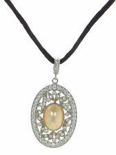 Joseph Esposito Diamonique 925 Sterling  Mother of Pearl Pendant w/Cord Necklace