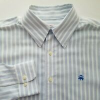 Brooks Brothers 346 Mens Blue Striped Button Front Long Sleeve Shirt Medium T309