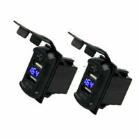 2x 12V Dual USB Car Marine Boat Switch Power Socket Plug Outlet Charger Adapter