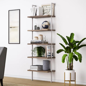 Nathan James Ladder Bookcase 73 in. H x 24 in. W x 12 in. D 5-Shelves Open-Back