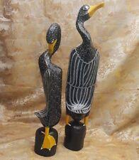 Folk Art Hand Carved Stylized 2 Wood  Goose / Bird Sculpture Decor