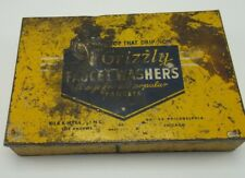 Grizzly Faucet Washers Vintage Yellow Storage Tin With Contents