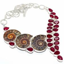 "Ammonite Fossil, Ruby Gems 925 Sterling Silver Jewelry Necklace 18"" 2954"