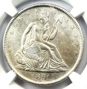 1861-O Half Dollar 50C with Speared Olive & Bisected Date - NGC SS - AU / UNC