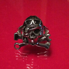 SKULL PILOT GOGGLES CROSSED WRENCHES BIKER MECHANIC STAINLESS STEEL RING SIZE 11