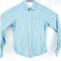 Ruehl No. 925 Mens Large Blue Striped Long Sleeve Button Front Shirt Modern NICE