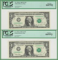 Consecutive Low 3-Digit 2003 $1 Fed Bank Notes (2) PCGS 66 PPQ Gem New Unc FRN