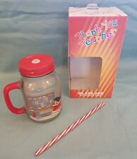 The Leonardo Collection Thank You Teacher Straw and Beaker/Jam Jar Glass-BNIB