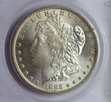 1885-O MORGAN SILVER DOLLAR MS-63 IN A OLD GREEN LABEL PCGS HOLDER!