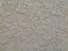 Ivory Gatsby Tulle Soutache Embroidery Fabric Lace Scalloped Edge Apparel Prom