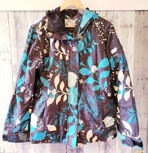 Roxy Womens Medium Snowboard Jacket Black Blue Floral