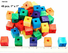 Colored Wooden Wood Blocks Parts For Bird Parrot Toy Amazon African Grey Macaw