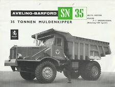 Aveling-Barford SN35 Muldenkipper Prospekt 1963 Dump Truck Brochure