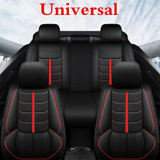 Auto Seat Covers Cushion PU Leather Black/Red Line For 5-Seats Car Front+Rear