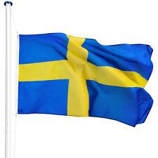 Mât de drapeau aluminium 625 cm drapeau Suède avec kit jardin drapeaux blason