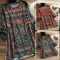 Women Cotton Ethnic Long Shirt Tops Floral Print Oversize Tunics Blouse Plus New