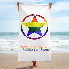 Beach Bathroom Towel Rainbow Flag Colors Fearless and Circled Star