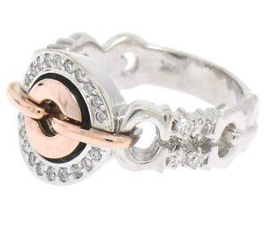 UNIQUE MODERN 14k White & Rose Gold 0.40ctw Diamond Buckle Like Ring