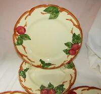 "4 Vintage Franciscan Ware APPLE Dinner Plates ~ 10 5/8"" ~ 1950s-60s TV Mark USA"
