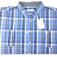 RM Williams Men's Hervey Short Sleeve 3XB Blue & White Check Button Down Shirt