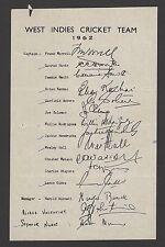 West Indies 1962 Cricket Team printed signatures sheet