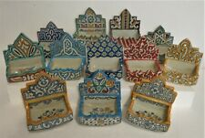 HAND PAINTED CERAMIC Multi Colour SOAP DISH FOR THE WALL  *FES  POTTERY* RUSTIC