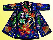 """MAGNIFICENT UZBEK SILK EMBROIDERED ROBE CHAPAN """"BIRD IN OTTOMAN STYLE"""" V1262"""