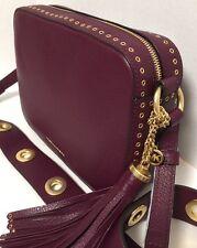NEW Michael Kors Brooklyn Large Camera Plum Leather Crossbody Handbag $398