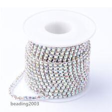 10yards/roll Brass Rhinestone Strass Chains Rhinestone Cup String Crystal AB 2mm