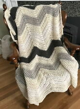 Handmade Crochet Chevron Ripple Chunky Throw Baby Blanket Afghan Natural Gray