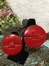 Post Earrings Modernist Mcm 2.5� Runway Vintage Large Red Lucite Door Knocker