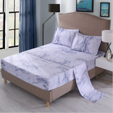 Marble Effect Duvet Cover Comfortable Bedding Fitted Pillowcases Sheet Sets Bed