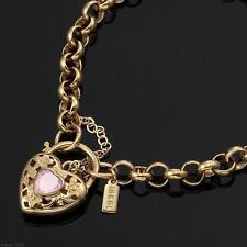 18K Yellow Gold GL Women's Solid Med Belcher Bracelet with Pink Heart 20cm