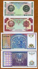 SET Uzbekistan, 1994, 1;3;5;10 Sum, P-73-74-75-76 UNC > Ornate