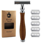 GERMAN MADE WOOD HANDLE DOUBLE EDGE SAFETY RAZOR FOR MEN'S WET SHAVE + 5 BLADES