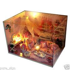 Proyecto de artesanía miniatura bricolaje de madera casa de muñecas el dormitorio de mi pequeña princesa
