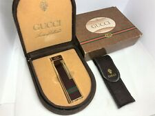 Auth Vintage GUCCI Sherry Line Bordeaux Roller Gas Lighter w Box Case & Sleeve