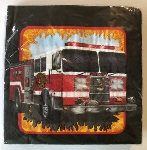 +Fire Watch Truck Engine Firefighter Kids Birthday Party Paper Luncheon Napkins