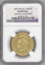 Brazil 20,000 Reis 1855 PEDRO II NGC-AU Details gold coin