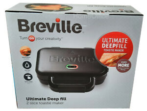 Breville Deep Fill 2 Slice Ultimate Toastie Maker Sandwich Toaster Black