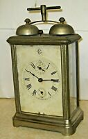 """1885 GILBERT """"Hello Alarm"""" Nickel Victorian Key Wind Carriage Clock Top Bells"""