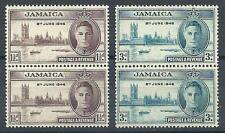 Jamaica 1946 Sc# 136a-37 set perf 13.5x14 George Peace issue pairs MNH CV $16