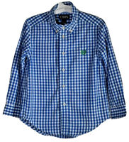 Chaps Little Boys  Shirt Button Down Long Sleeve Blue White Plaid Print Size 5